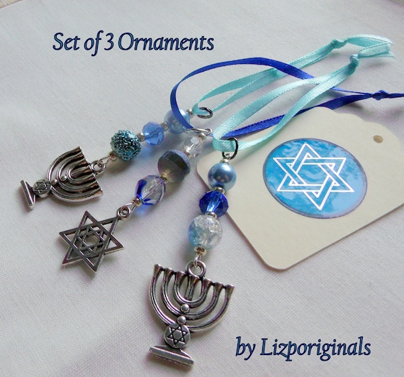 Hanukkah pearl crystal ornaments - Jewish holiday gift - metallic aqua beads - set of 3 Star of David /menorah charms - blue party favors