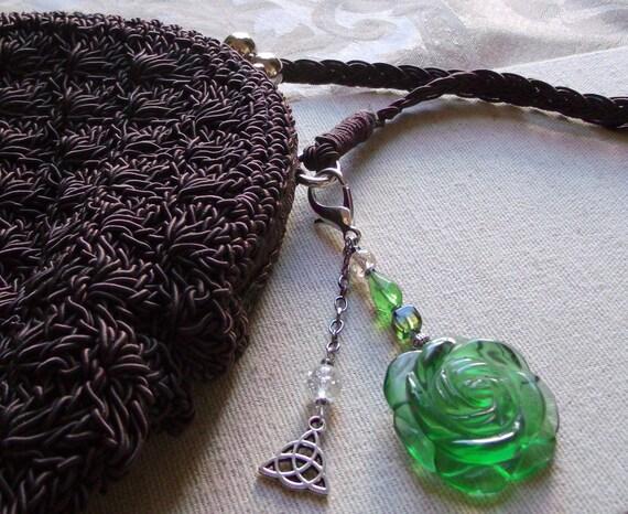 Green flower zipper pull -  black glass flower -  purse clip - tote/journal -  st Patrick day gift -  spring rose charm - Celtic knot