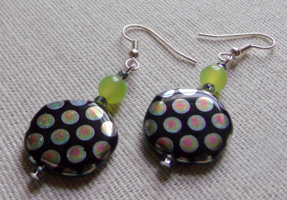 Round disk earrings- pink -green metallic dots - lightweight short earrings -  geometric - abstract - lime green beads- - LizPoriginals