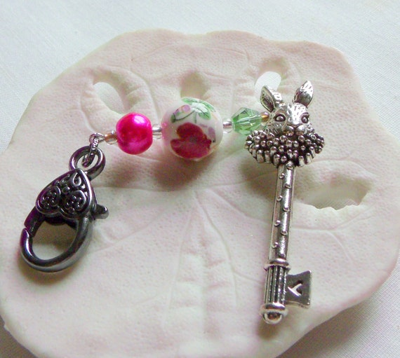 White rabbit pendant - bunny tea party favors - purple fairy tale zipper pull - silver key ornaments - pink beaded charms - wall accents