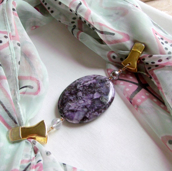 Gemstone scarf clip - purple agate - hood fastener - sweater guard - heavy shawl clip - coat hood closure - gold gem clip - Pashmina