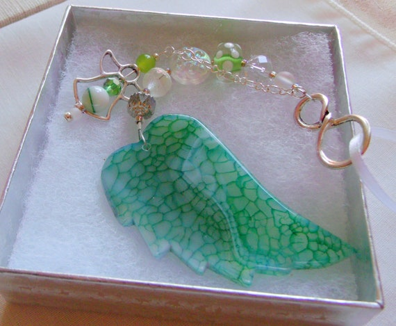 Wing remembrance gift - custom sympathy  memento - green angel car charm - agate pendant - sun catcher  - cremation box - shrine decor