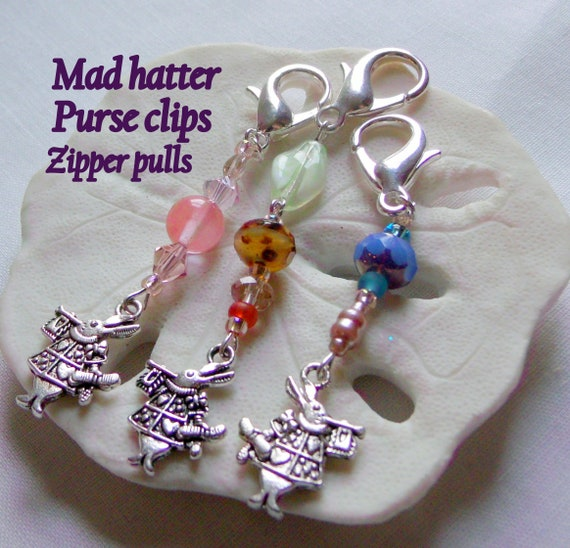 Mad hatter Alice in wonderland Stitch markers - tea party favors - knitting /crochet accessory - white rabbit - zipper pulls - dangle charm