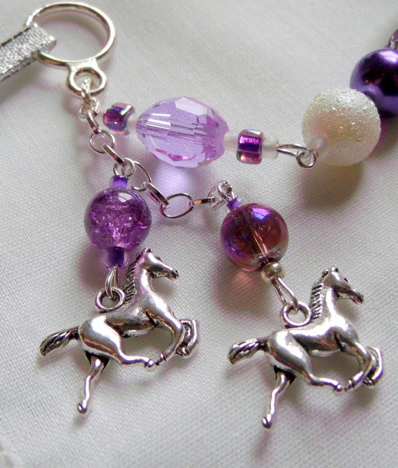Horse Christmas ornament - tassel bell tree decor - wild horse charm - pink horse  - Girls riding holiday gift - purple Equestrian memento