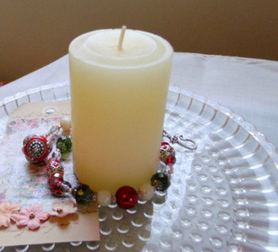 Red Christmas candle garland - berry candle wrap - fire and ice - festive candle decor -  candle ring bling - for jar or pillar - grab gift