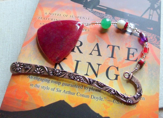 Red triangle bookmark - copper shepherds hook - gift for reader - agate pendant page marker - book club gift -  beaded design  - gemstone
