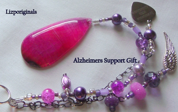 Pink gem stone ornament - Alzheimer's support gift - nursing home dcor - for the cure - window sun catcher - agate teardrop - Awareness