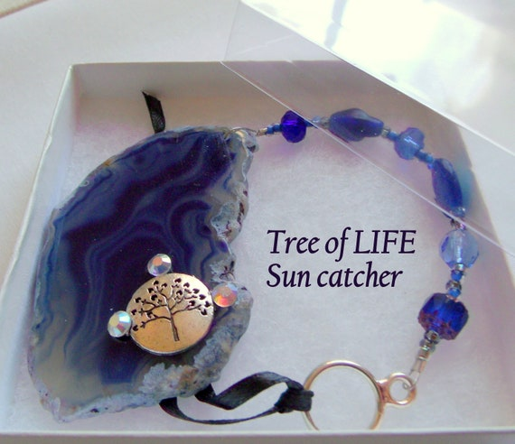 Tree of life gem pendant - beaded window decor - cobalt blue agate geode slice - tree charm - kitchen charm - Judaica gift - car sun catcher
