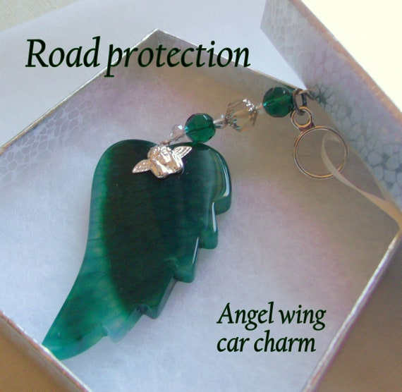 Teen driver gift - car charm - road protection - angel wing charm - green - red - blue agate wings -  first car - Trucker gift - Drive safe