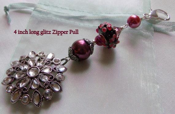 Flower purse charm - glitz pendant - lamp work flower journal charm - silver  floral zipper pull - flower key ring -  garden book charm