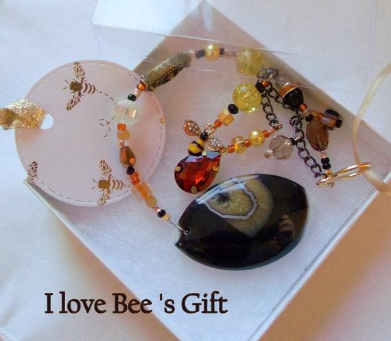 I love Bee's suncatcher - yellow black agate - orange teardrop car charm - honey bee inspired ornament - for the beekeeper - garden lover