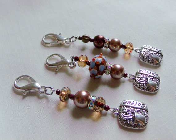 Coffee charm zip pull - bag charm - for journals - Barista gift - I love coffee - caffeine addict - coffee shop - cappuccino  cup - latte