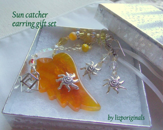 bright wing sun catcher gift set - sun earrings - spiral sun charms - garden pendant - vacation home - gardeners gift - yellow angel wing