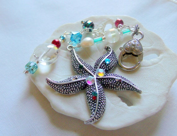 Starfish bag charm - aqua ocean gift - summer birthday - large starfish with rhinestones - red pearl beaded purse charm - beach journal