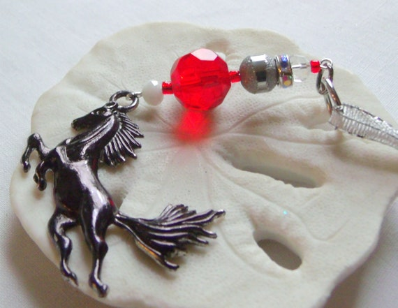 Wild Horse ornament - country living - Equestrian club gift - girls riding gift - Horse lover memento - black wild stallion - Christmas