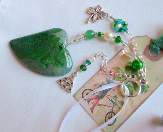 St Patrick's Day home decor - green gem heart - Celtic knot charm - shamrock - Boston Irish gift - Car charm - Irish club - sun catcher