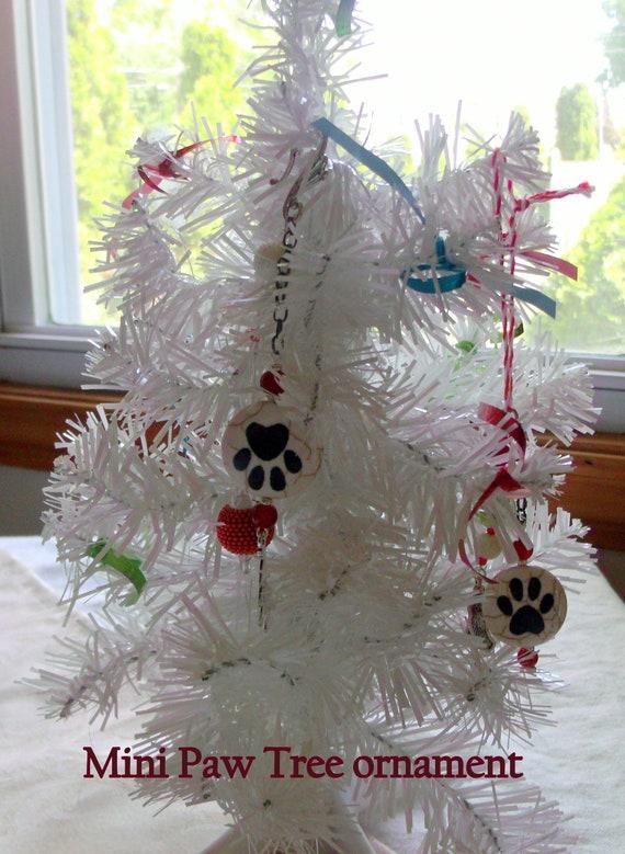 Pet christmas ornament - paw bead decor - mini christmas tree ornament - red crystal - puppy - cat ornament -  I love my pet - Lizporiginals