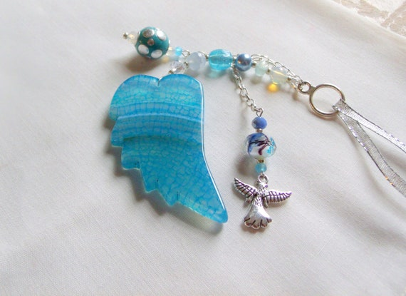 Loss of baby boy gift - sympathy memento - custom grief gift - aqua angel wing - grave decorations - always in my heart - remembrance