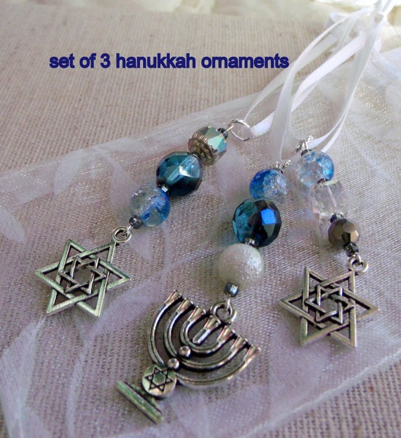 Hanukkah ornaments - gift bag add on - teal blue crystals - hanging decor - star of David - set of 3 - Menorah Jewish design - Lizporiginals