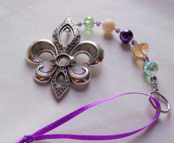Fleur de Lis Mardi Gras ornament - home decoration - Fat Tuesday - purple pearl bottle charm - large silver southern fleur gift - Louisiana