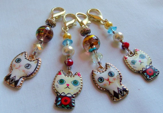 Bright Cat zipper pull - enamel charms - cat lovers gift - for kids - whimsical cat - blue eyed cat charms - journal charm - purse clip