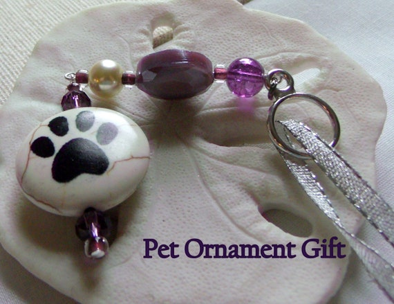 Pet paw window charm gift set - Dog/cat gift - for pet owners - rear view mirror  - crochet paw applique - paw zipper pull - Fur baby gift