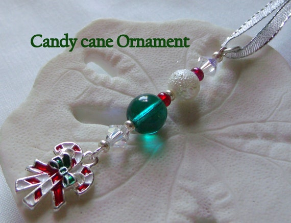 candy Cane  Christmas ornament - beaded home decorations for the tree - office and hostess gift - enamel holiday ornament -