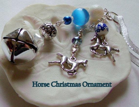 Horse ornament - tassel bell tree decor - wild horse charm - pink horse  - Girls riding holiday gift - purple Equestrian memento - Christmas