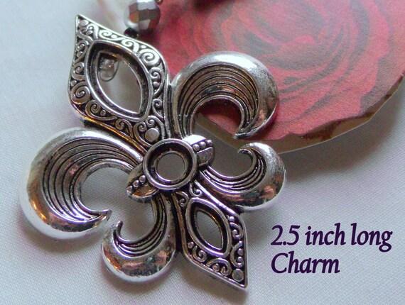 Fleur de Lis Mardi Gras ornament - Southern fleur purse clip - charm - deep south - Mardi gras gift - Louisiana - Fat tuesday - zipper pull