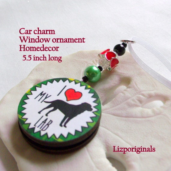 Dog car charm - Pet wood disk ornament - for Dog lovers - Lab - Schnauzer - the happy Dog -  I love my Beagle - Bulldog - Shepard - Yorkie