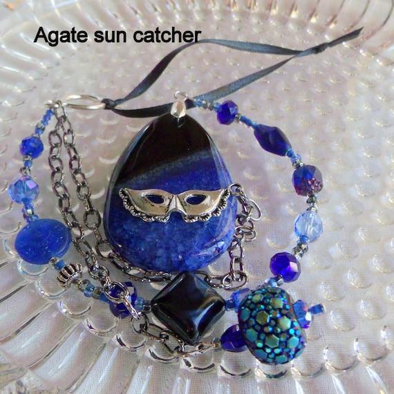 Cobalt blue gemstone suncatcher - Mardi Gras inspired window decor - venice mask charm - agate pendant - sunroom wall ornament - unique gift