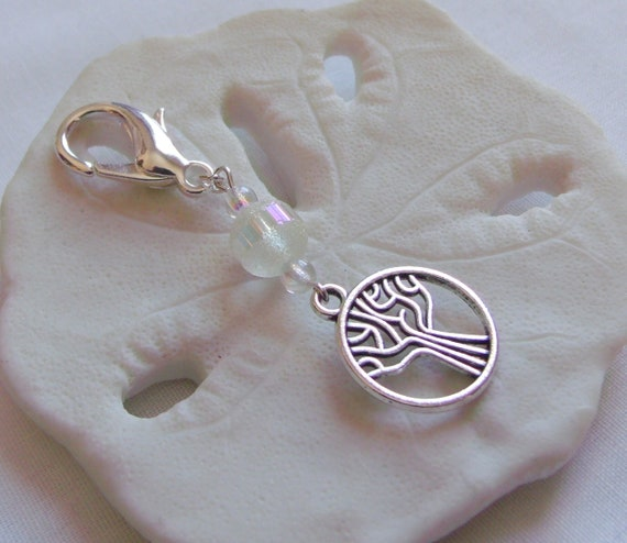 Tree of life zipper pull - travel journal charm - silver tree bag charm - Biblical christian gift - Genesis tree - crystal tree bag clip