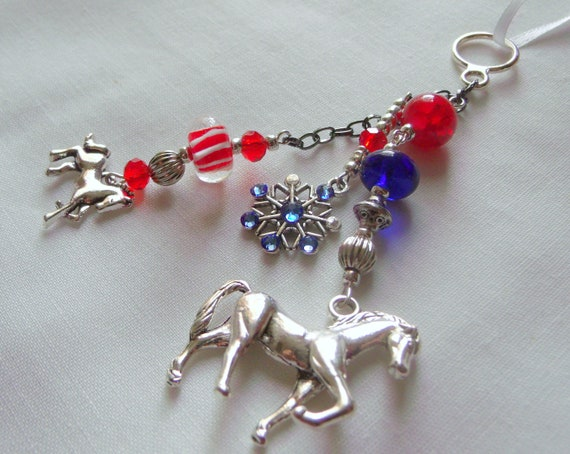 Horse Christmas ornament - red patriotic horse charm - wall decor - equestrian  - Horse lover gift - girl riding gift - Holiday present
