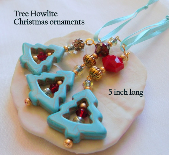 Set of 3 aqua tree ornaments - southwest trend ideas for holidays - Arizona Christmas - openwork gem tree - red gold holiday tree jewelry