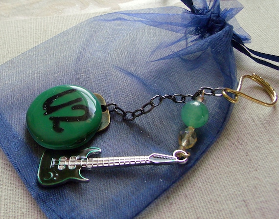 Rock Band Key Ring - U2 concert tour gift -  Guitar charm  for keys  - red musical instrument - glass pendant - brown guitar charm