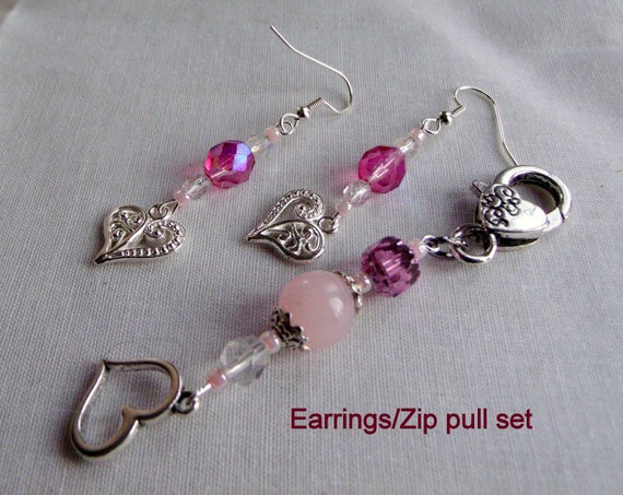 Pink heart earrings set - zipper pull - bridesmaid gift - Mothers day -  Valentines  -  openwork heart charm - 2 Piece set  - Wedding gift