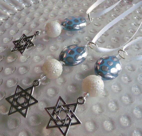Jewish wedding favors - Jewish wedding gifts - Jewish keepsake - Holiday gifts - Jewish gifts - Blue Hanukkah ornaments - set of 3 charms