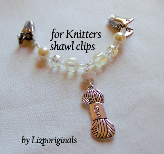 Shawl clips for knitters - quilting buddies /sewing -  beaded scarf clip - yarn charm -  neutral colors - cardigan fastener - pashmina gift