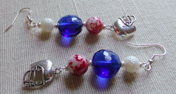 Blue football earrings - new England football team - patriotic colors - support the team - helmet earrings - sport earrings - Lizporiginals