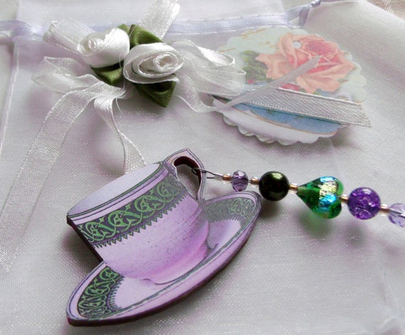 Tea cup gift set - ornaments - English high tea - garden party favors - women's tea - for fundraisers - mothers day gift - wood tea cup