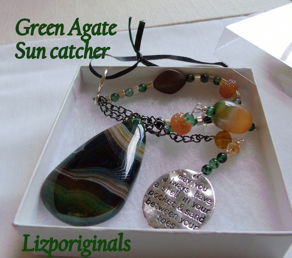 Green gem teardrop suncatcher - sand between my toes charm - support life gift - OCD hope token - think positive - mental health car charm