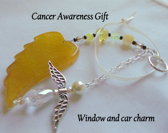 Cancer support gift - Childhood - Liver - Bladder awareness - Spina Bifida - agate wing - angel car charm - Faith - memory gift - Oncology