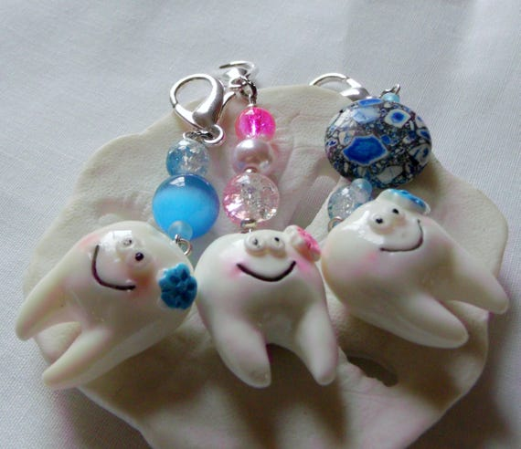 Tooth fairy zipper pull - boy/girl - large molar - toddler dental gift - pink whimsical teeth - blue dental assistant - for the dentist