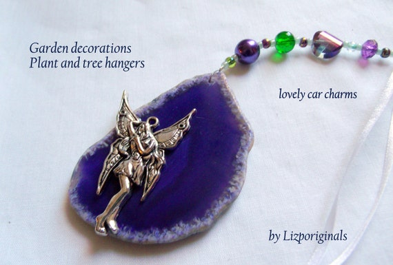 Fairy gem car charm - purple agate geode slices - open druzy stones - window and garden art - mystic and celestial - silver  romantic mask