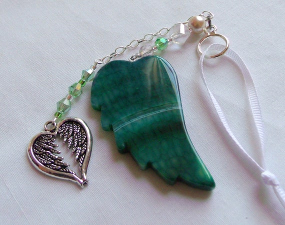 Guardian angel charm - car ornament - sun catcher - custom protection gift - angel by my side -  agate wing decor - heart window ornament