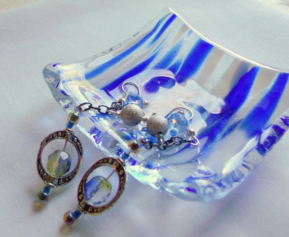 Mothers day jewelry set - blue fused glass dish - dangle - openwork silver blue tassel style - fabric flower earrings - trinket dish gift