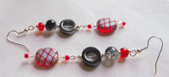 Round red earrings - statement earrings - stylish club wear - bold new style - big earrings - aqua frame jewelry - green - black disk