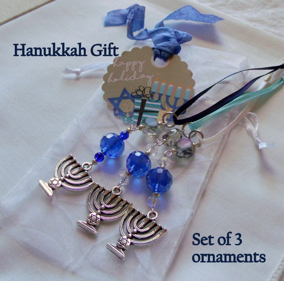 Hanukkah ornaments - gift bag add on - blue crystals - hanging home decor - set of 3 - Menorah charms - Jewish design - Lizporiginals