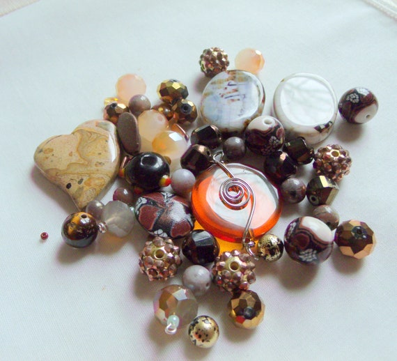 Brown stone bead soup - crystals - lamp work beads - stone bead mix - jasper heart - DIY for jewelry making - wire glass pendant