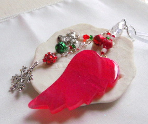 Red Christmas ornament - agate wing tree hanger - jingle bell charms - snowflake - gemstone gift - stocking stuffer - holiday grab gift